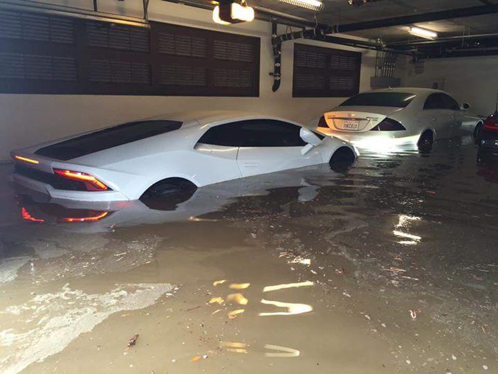 Flooding in underground parking lot in Ocean Beach.