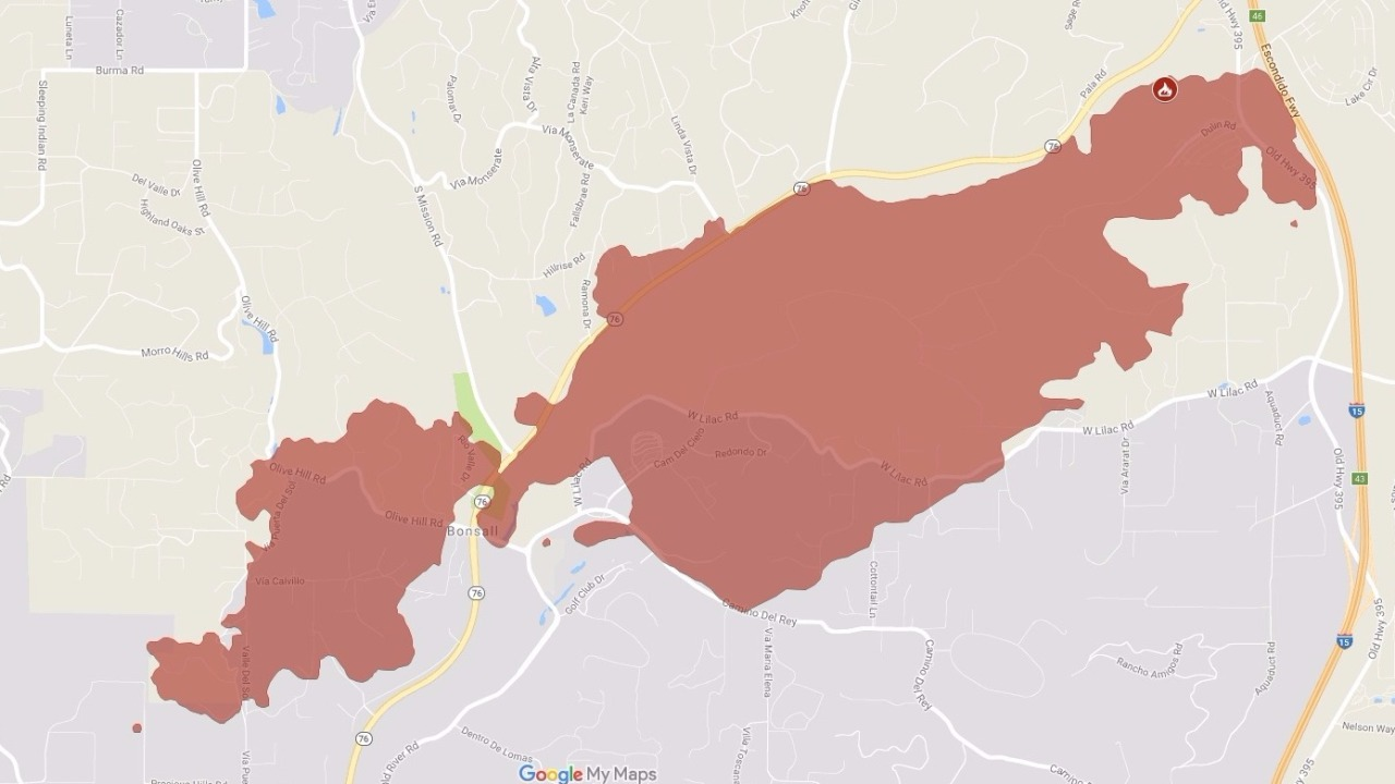 Interactive Maps Show Burn Evacuation Zones Of Lilac Fire Fox 5