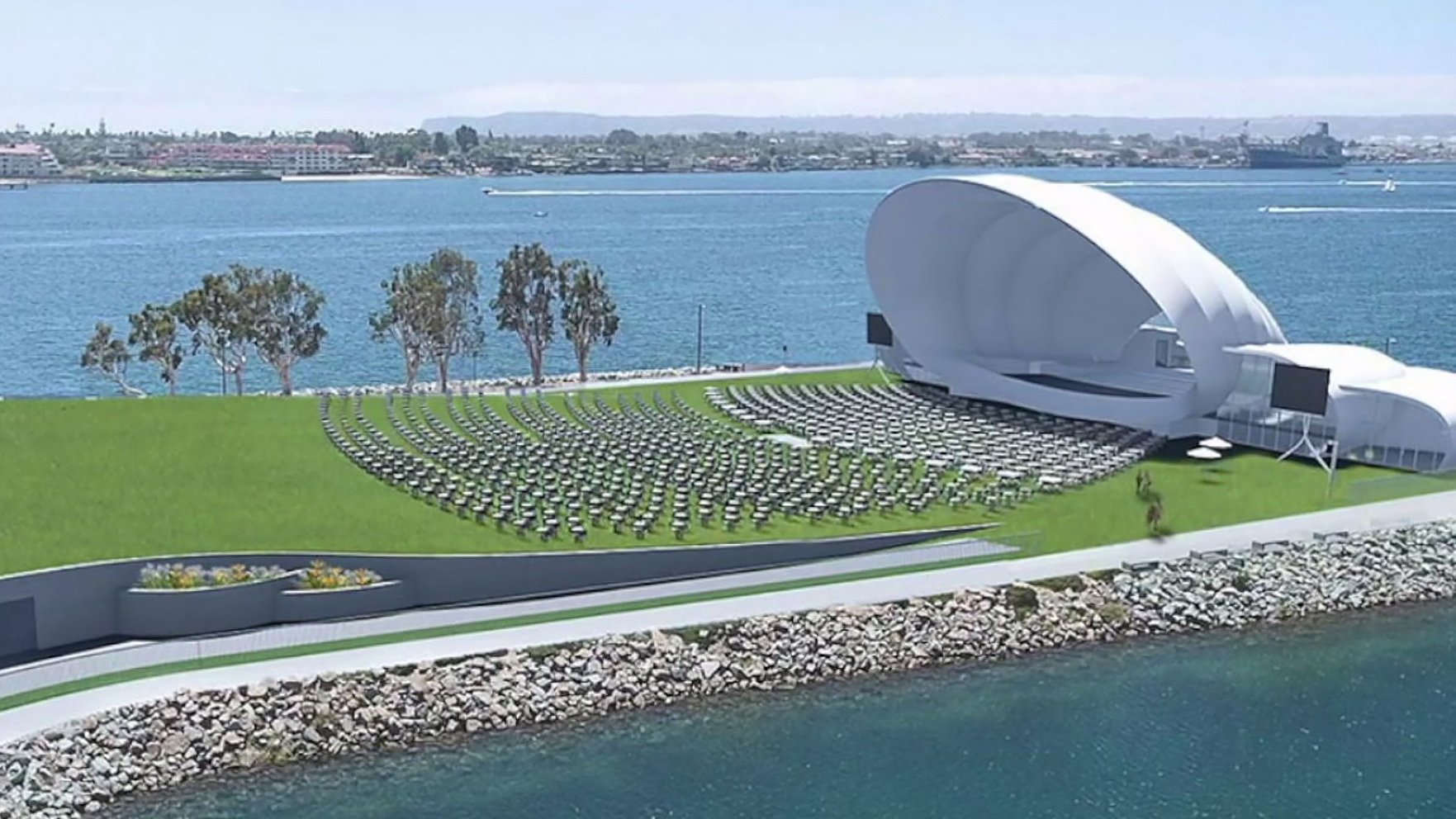 An architectural rendering of the permanent concert venue being built by the San Diego Symphony and Embarcadero Marina Park South.