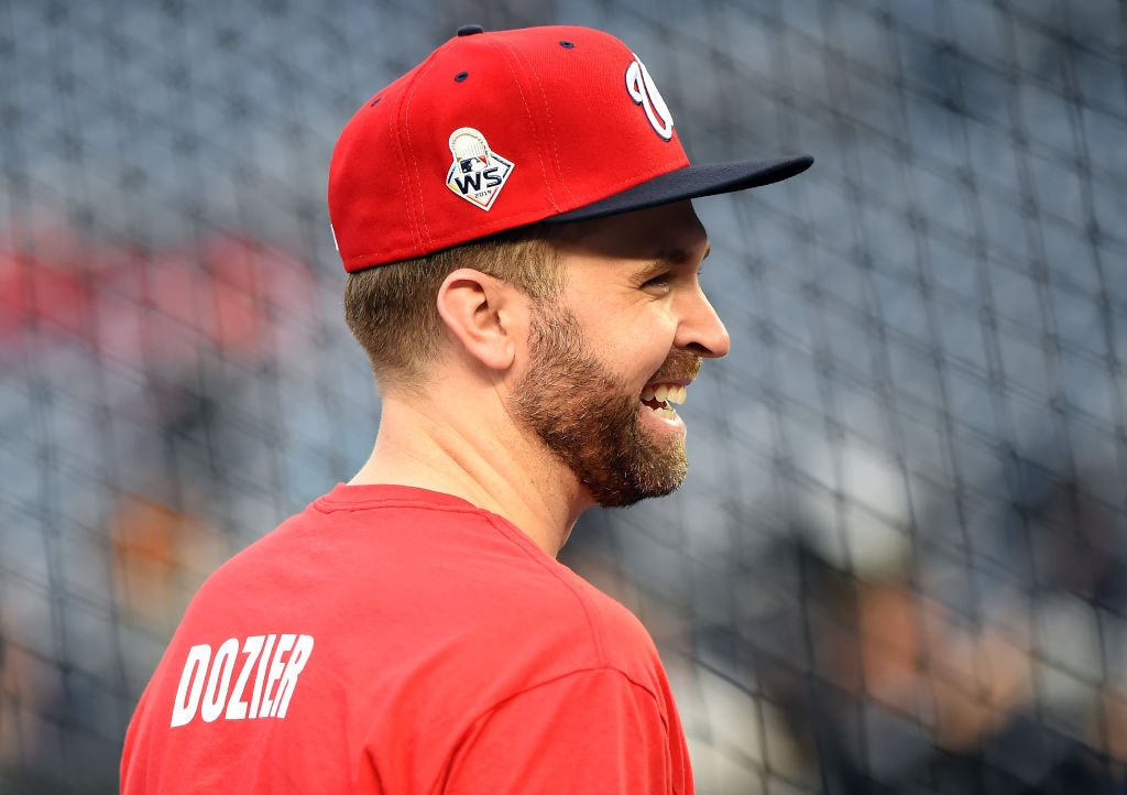WASHINGTON, DC - OCTOBER 26: Brian Dozier #9 of the Washington Nationals looks on during batting practice prior to Game Four of the 2019 World Series against the Houston Astros at Nationals Park on October 26, 2019 in Washington, DC. (Photo by Will Newton/Getty Images)