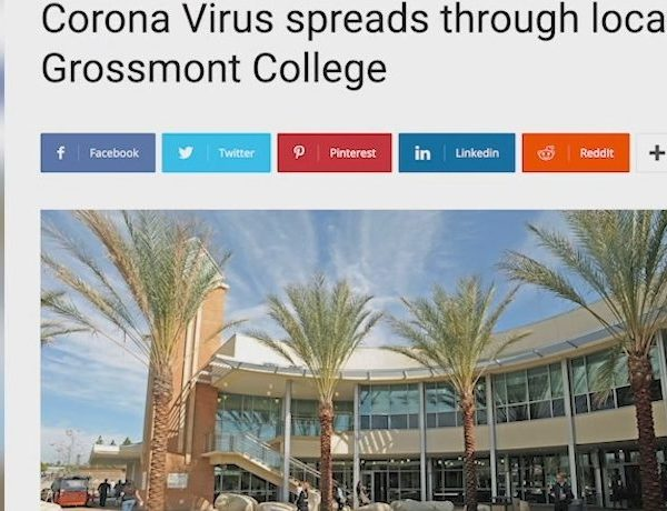 A fake news site published a false story claiming that a student had tested positive for coronavirus at Grossmont College.
