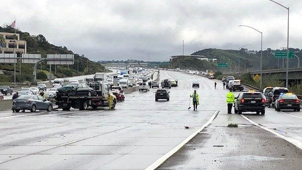 Authorities closed southbound Interstate 5 in Carmel Valley following chain-reaction crash involving 13 vehicles, police said.