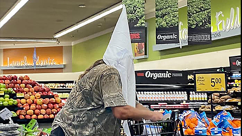 A man wore a KKK hood while shopping Sunday at a Vons store in Santee.
