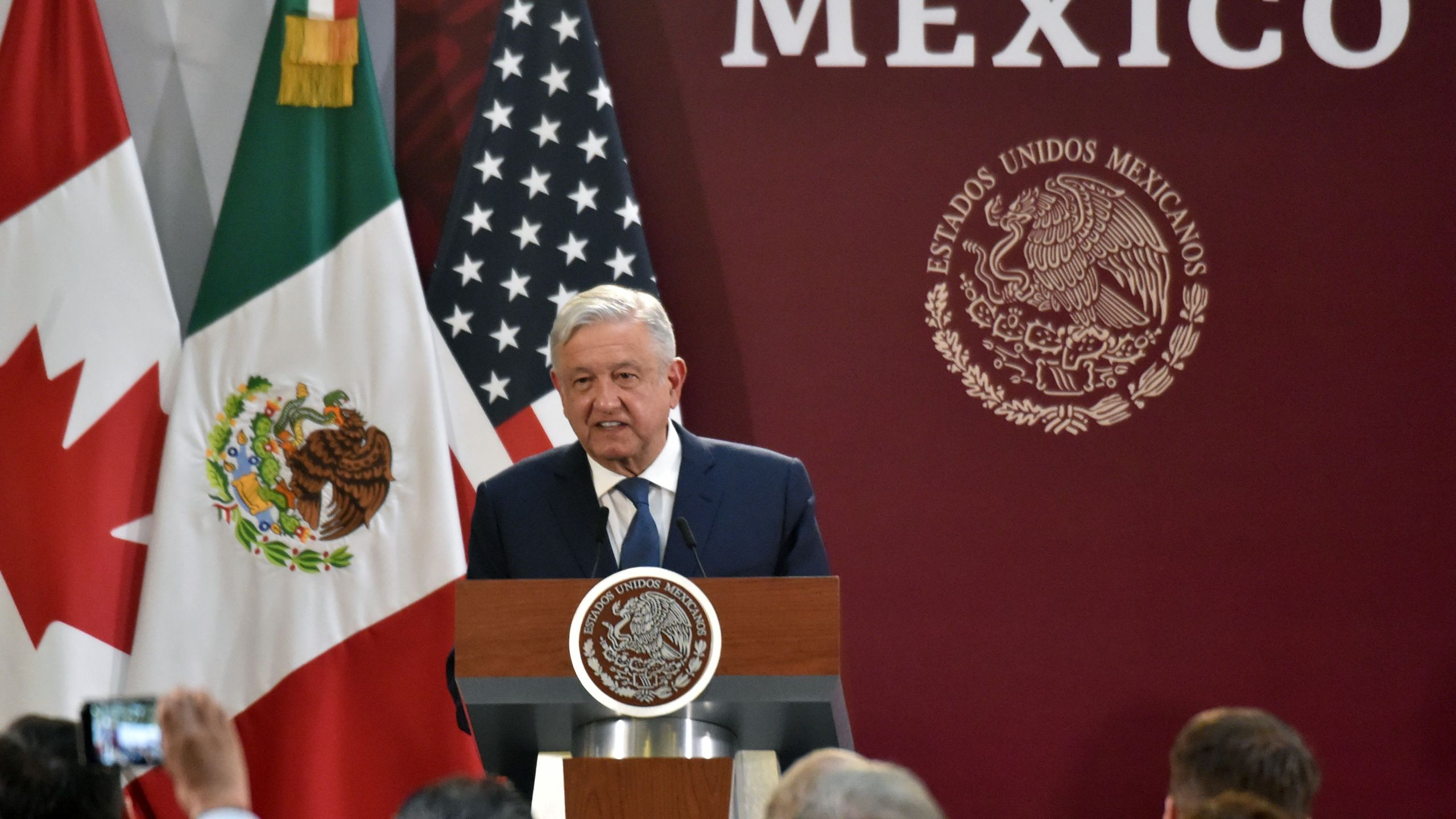 Mexican President Andres Manuel Lopez Obrador speaks during a meeting with United States Trade Representative Robert Lighthizer (out of frame) and Canadian Vice-Prime Minister Chrystia Freeland (out of frame) in Mexico City on December 10, 2019. - The United States, Mexico and Canada signed a deal Tuesday finalizing their new trade agreement after more than two years of arduous negotiations and paving the way to ratification. (Photo by RODRIGO ARANGUA / AFP) (Photo by RODRIGO ARANGUA/AFP via Getty Images)