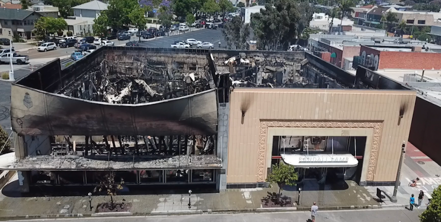 Drone5 image of the historic Randall Lamb building following a night of riots and looting