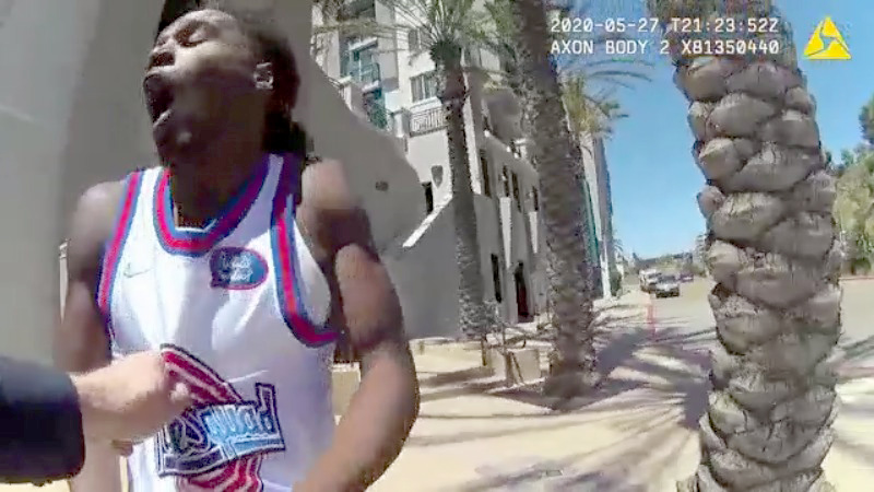 La Mesa city officials Wednesday released officer body camera video of an arrest last week of a young black man near Grossmont Transit Center.