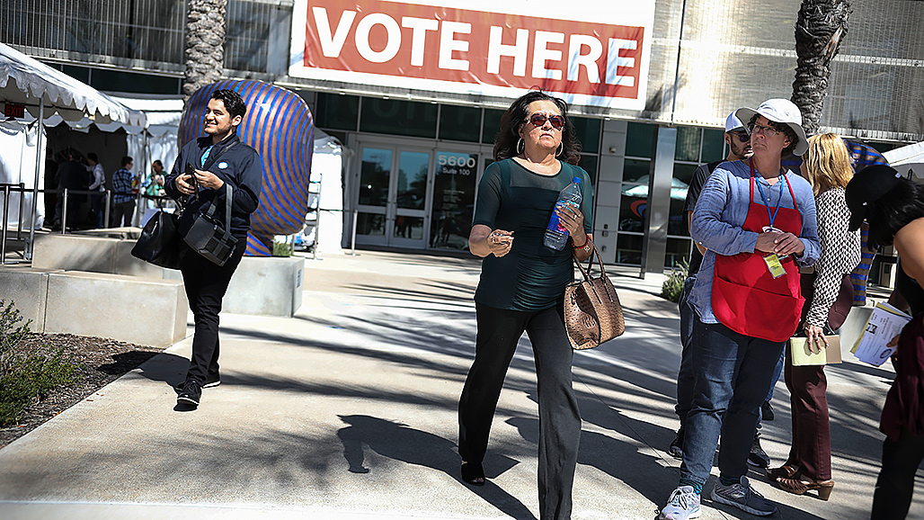 SAN DIEGO, CA - MARCH 03: A voter walks out after voting at the San Diego Registrar of Voters on March 3, 2020 in San Diego, California. 1,357 Democratic delegates are at stake as voters cast their ballots in 14 states and American Samoa on what is known as Super Tuesday. (Photo by Sandy Huffaker/Getty Images)