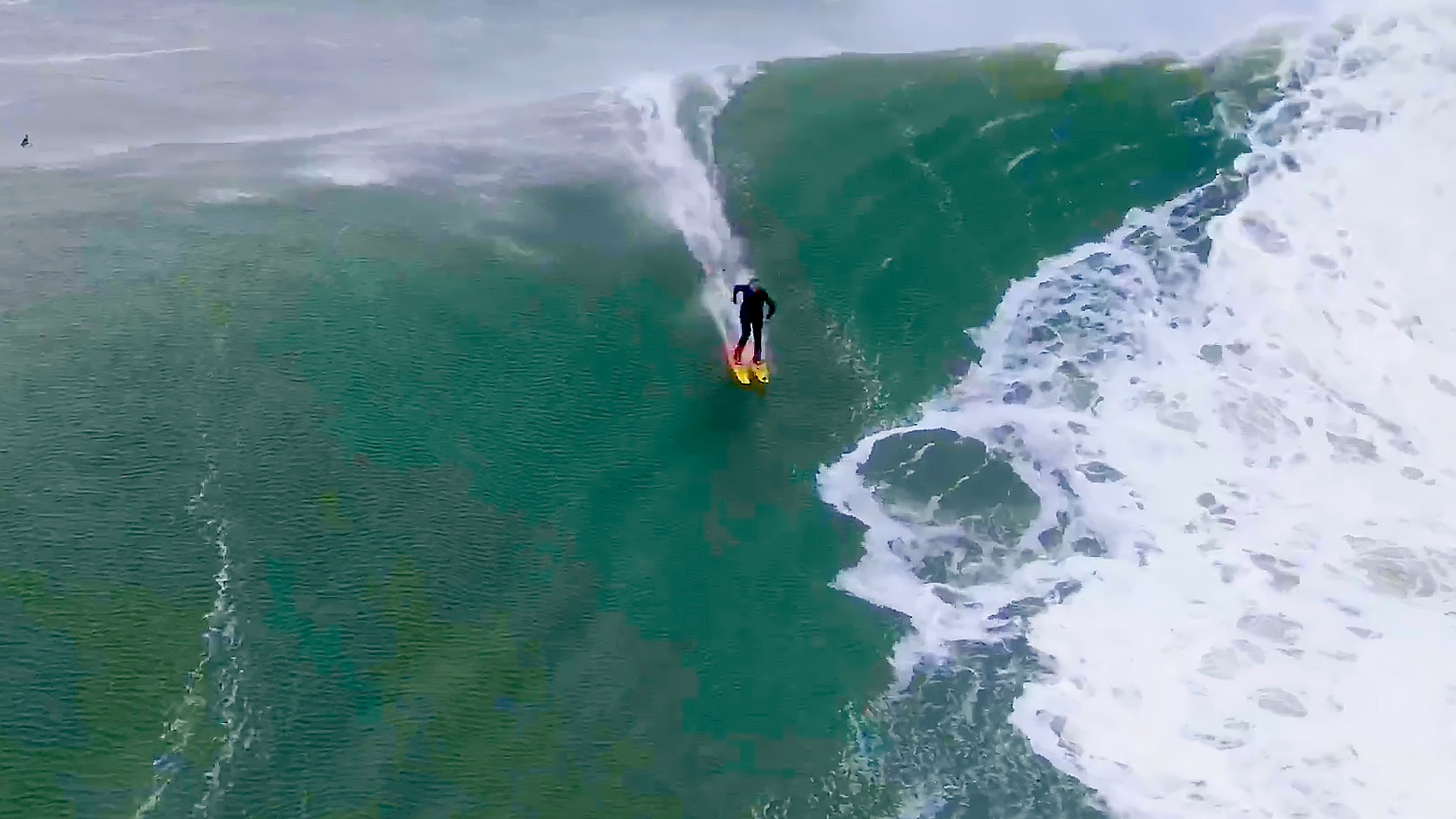 Southern California skier and surfer Chuck Patterson rides a big wave at Mavericks surf break near Half Moon Bay.
