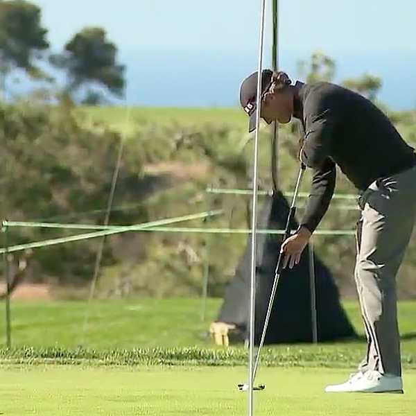 A player practices putting in preparation for the Farmers Insurance Open at Torrey Pines.