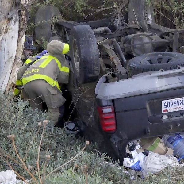 An overturned SUV was found on the side of a South Bay freeway Thursday morning, but there was no sign of a driver or passengers.