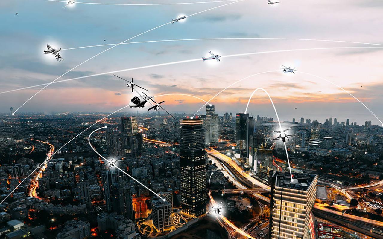 An artist's conception of an urban air mobility environment. Credit: NASA / Lillian Gipson