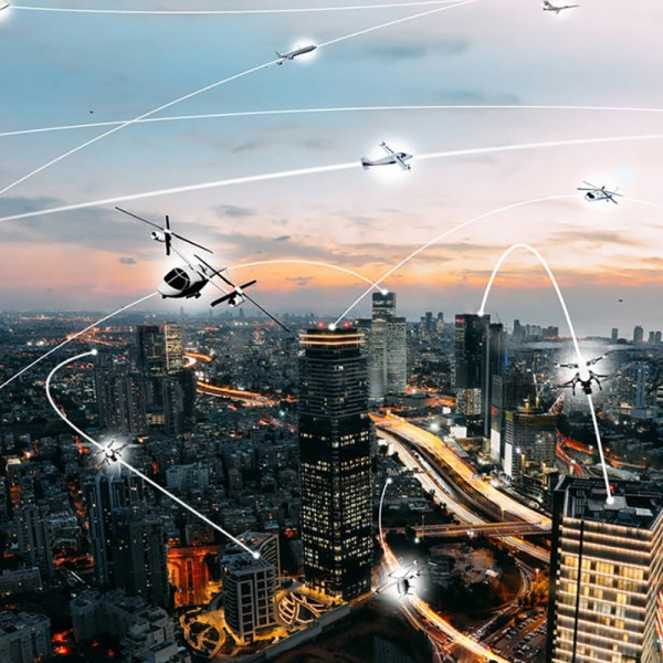 An artist's conception of an urban air mobility environment. Credit: NASA / Lillian Gipson
