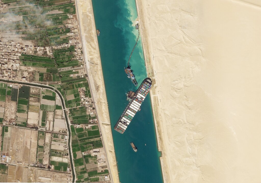 A photograph of the Suez Canal